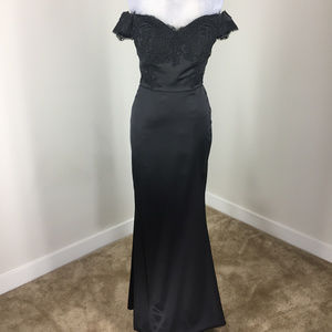 Black Satin Long Formal Gown Evening Dress S 2 4